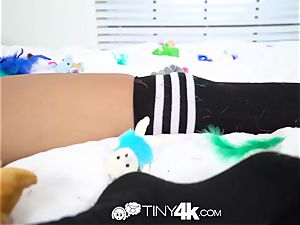 Tiny4k Candy whip pawed all over slit with Aria Skye