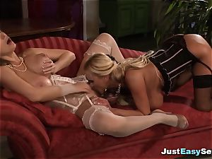 two breasty towheaded milfs have lezzie lovemaking