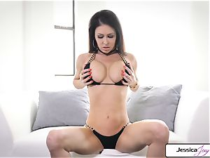 Jessica Jaymes display you her ample bumpers and moist honeypot