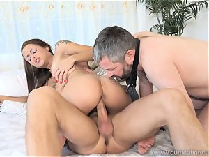 Holly Hendrix Cuckolds hubby and Makes Him lick spunk