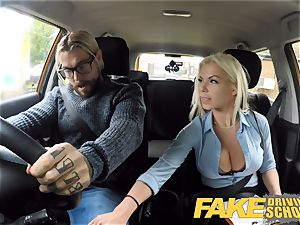 faux Driving school huge-boobed ash-blonde Barbie Sins