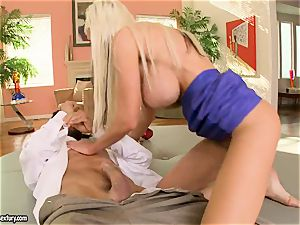uber-sexy mummy Puma Swede bounces her cunny on a fat chisel
