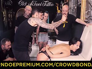 CROWD restrain bondage - sadism & masochism very first time practice for latina