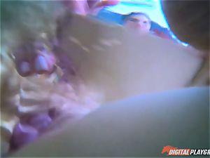 Aiden Ashley frolicking with her muff underwater