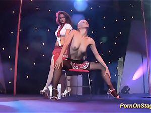 sapphic pornshow on public stage