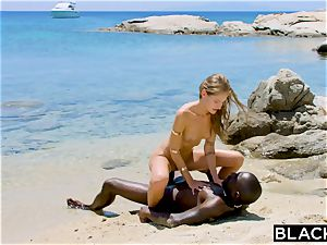 BLACKED strong black boy tears up towheaded tourist on the beach