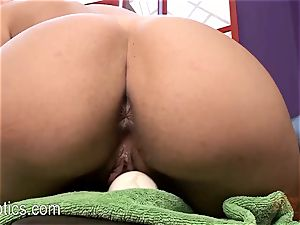 Danica James leaning Over on a vibing brute