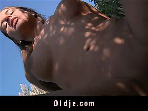 huge-boobed teeny nails aged dude on the beach