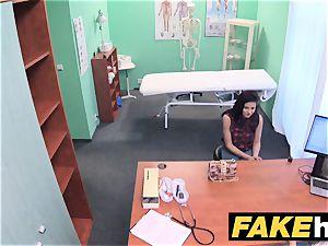 faux health center bashful dark haired has explosive climaxes