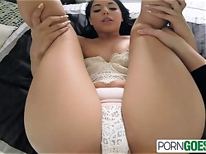 Gina Valentina inhales and tears up like tramp a ample man sausage