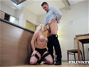 Private.com huge-boobed Victoria Summers pokes in stocking