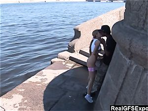 Russian blond Olga meets big black cock while jogging
