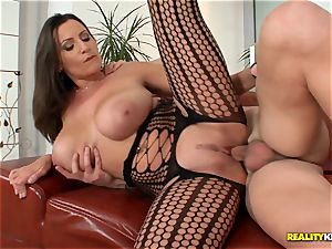 large boobied sensuous Jane pulverizes in fishnet