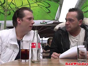 immense breasted Amsterdam hooker gets jizm showered
