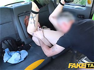 faux taxi Spanish tatted ginger-haired hottie wild