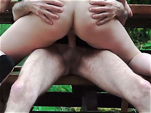 granddad drills nubile On Rainy Day slurps her cock-squeezing cooch