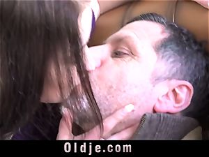 super-steamy nubile get plumbed rock-hard by her elder educator