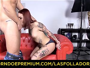 LAS FOLLADORAS - tatted sandy-haired pornographic star ravaged rock hard