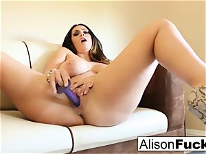 gigantic breasted hotty Alison Tyler plays with her honeypot