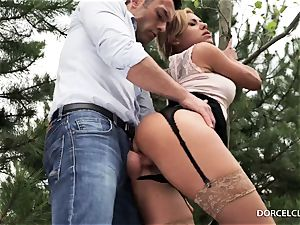 female college girls witness as their tutor gets butt-banged in the forest