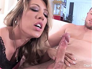 spectacular Capri gets a deep weenie and a geyser on her face