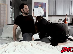 Amish Alison Rey makes stepbro man-meat jizz after bj