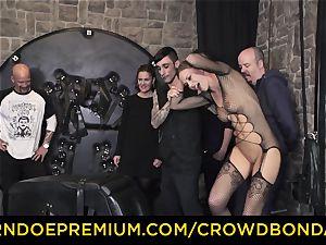 CROWD bondage - extreme domination & submission pulverize wheel with Tina Kay