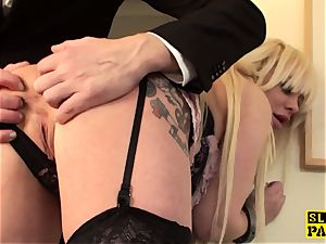 huge-chested bondage & discipline british predominated with roughsex