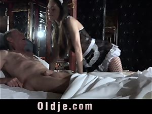 Step dad Caught pounding The Maid