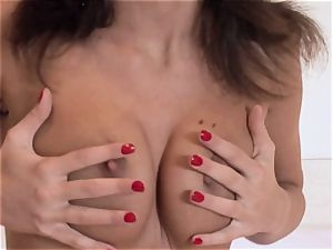 Lauren May magnificent honey taking off her maroon thong