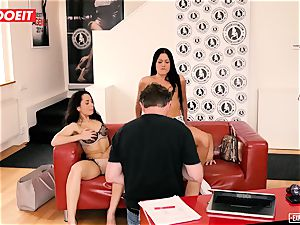 european honies enjoy assfuck threesome during audition