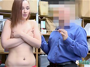April lies on desk for officer to deepthroat her slit until they jism