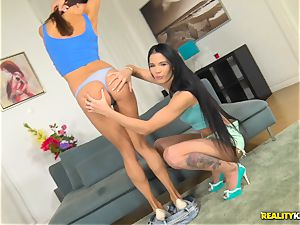 Lovenia Lux and Roxy Dee wild cooch tonguing and rigid muff thrashing four way