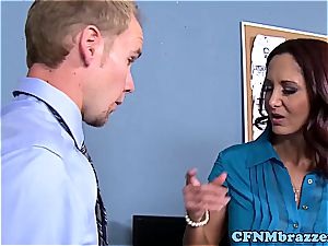 Lisa Ann making the office sense tight in their trousers in 720p