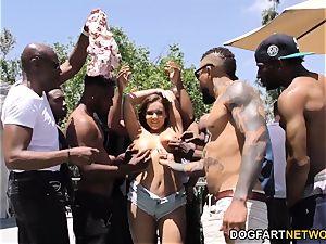 Natasha ultra-cute bi-racial gangbang hook-up