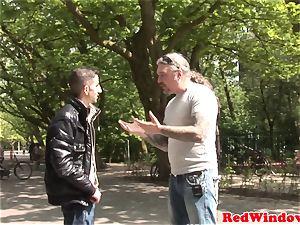 Dutch stockinged escort anally finger-tickled
