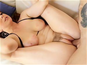 red-haired Penny Pax plumbs with her fur covered puss