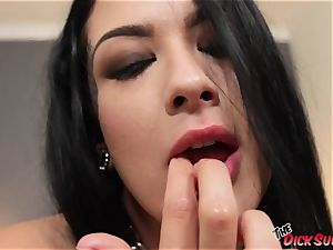 emo beauty Katrina Jade gargles in point of view