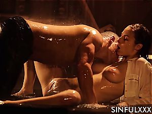 poking a busty super-cute while the water runs in rivulets down her fragile flesh
