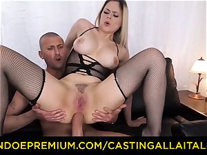 audition ALLA ITALIANA - big-boobed Italian blond arse fucked