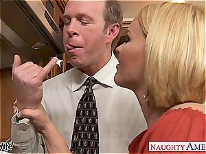 big-titted wifey Krissy Lynn munching spunk in the kitchen