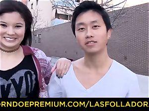 LAS FOLLADORAS - meaty bra-stuffers Oriental stunner has four-way