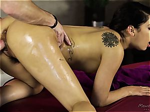 smallish Gina Valentina gets greased up and pawed