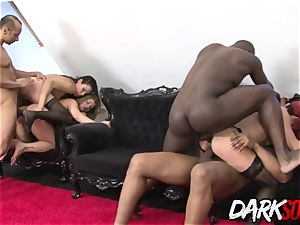 four Mature beauties spread Their ass-holes for big black cock and playthings