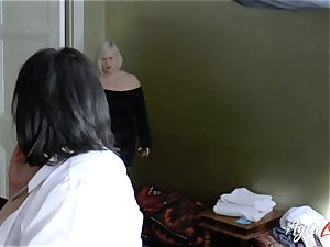 AgedLovE huge-boobed motel Maid Lacey Starr threesome