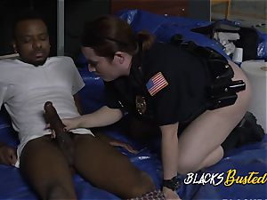 Suspect of trespassing gets his dick rock hard for mummy cops to take it