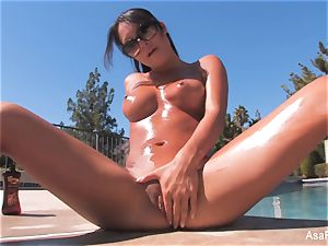 Everyone's beloved porn industry star Asa taunts by the pool