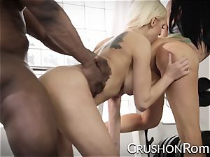 Romi Rain and Kenzie Taylor take turns on a bbc