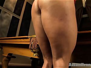 Buff blond wedges ginormous glass fake penis in her cootchie