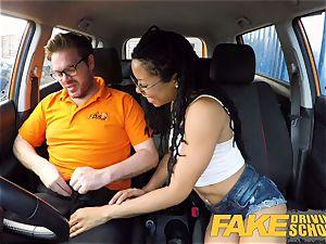 faux Driving college dark-hued american minx Kira Noir